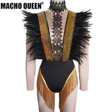 Drag Queen Costumes Feather Rhinestone Bodysuit Festival Rave Burning Man Costumes  Stage Performance Singer Event Party Outfits