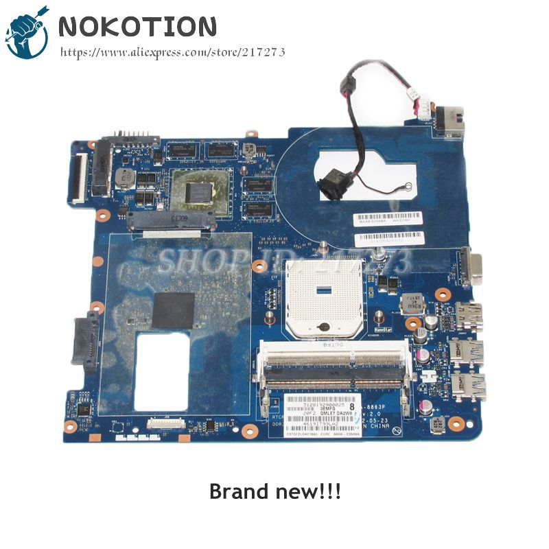 NOKOTION NEW For Samsung NP355 NP355C4C NP355V5C Laptop Motherboard QMLE4 LA-8863P BA59-03567A DDR3 HD7600M video chip fit for samsung np350 np350v5c 350v5x laptop motherboard qcla4 la 8861p ba59 03541a ba59 03397a ddr3 hd 7600m gpu 100