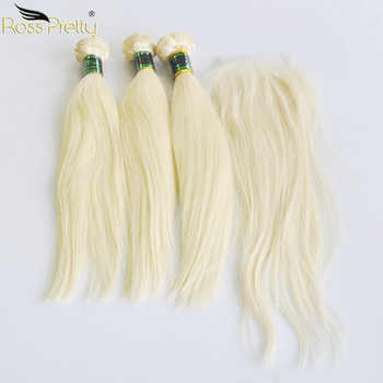 Ross Pretty Remy Human Hair Bundles With Lace Closure Malaysian Straight Hair Blonde Pre plucked Closure With Hair bundle 613 - Category 🛒 Hair Extensions & Wigs
