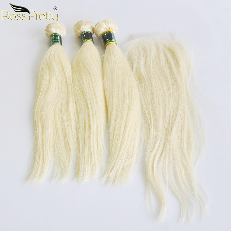 Ross Pretty Remy Human Hair Bundles With Lace Closure Malaysian Straight Hair Blonde Pre plucked Closure With Hair bundle 613 image