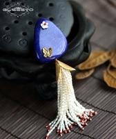 GLSEEVO натуральный пресноводный жемчуг лазурит цветочные броши для Для женщин вечерние подарок кулон двойной Применение Fine Jewelry GO0053