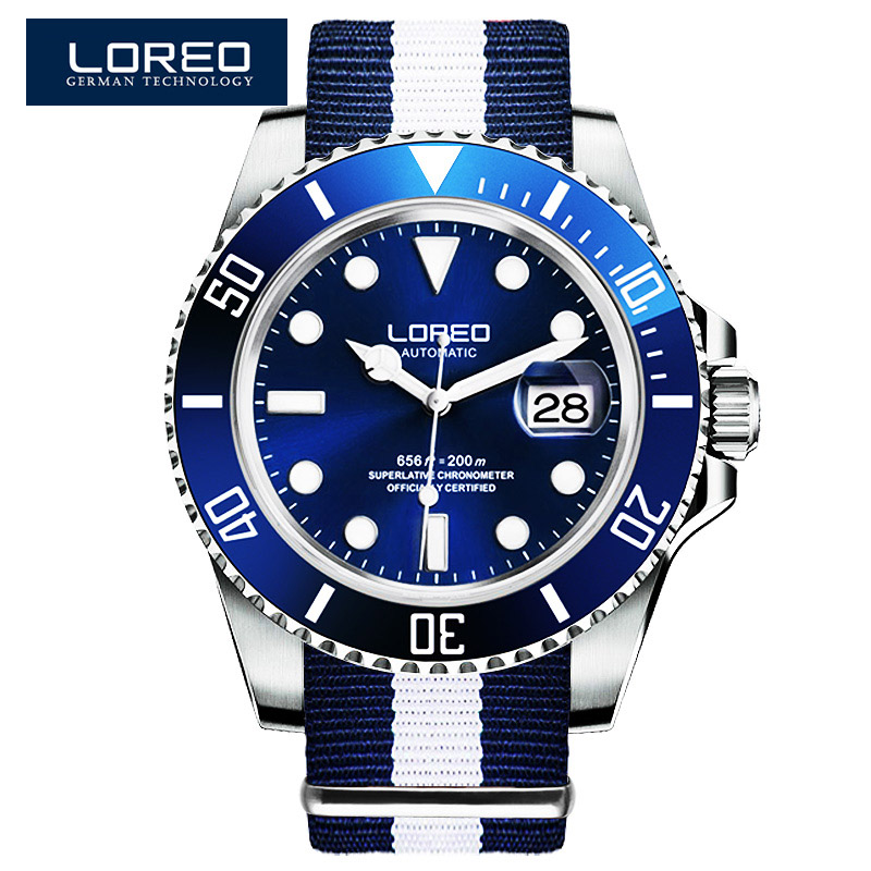 Loreo الفاخرة سلسلة أزياء كلاسيكية التقويم الأزرق الهاتفي الرجال التلقائي الساعات الفاخرة النايلون حزام 200 متر للماء الساعات الميكانيكية-في الساعات الميكانيكية من ساعات اليد على  مجموعة 1