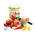 12pcs/set Children Wooden Cutting Fruit Vegetable Kitchen Toys Colorful Pretend Educational Food Toys for Kids