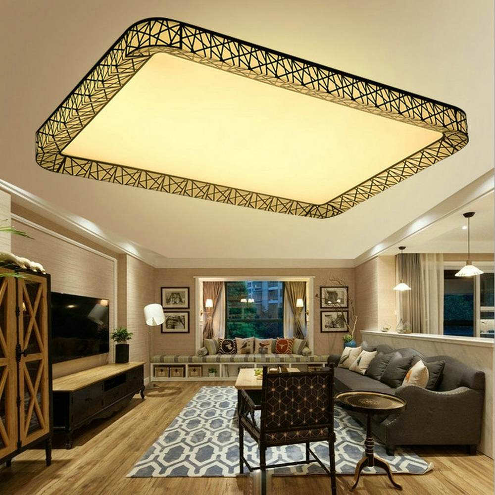Metal Iron Art Led Ceiling panel Light Dimmable 12w/36w/48w/72w/108w 960-9720lm Indoor Lamp Square for Living Room Bedroom blue time led ceiling lights 36w 48w 72w square kitchen light 110v 220v240v modern led ceiling lamp for bedroom