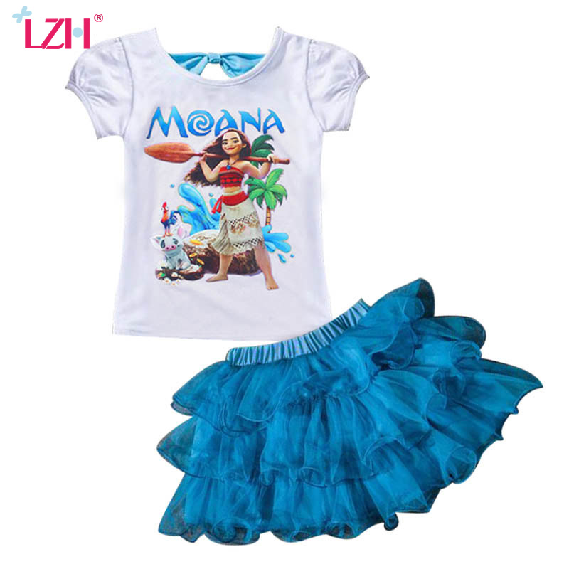 LZH Summer Kids Girls Clothes Moana Costume T-shirt+Skirt 2pcs New Years Outfit Christmas Suit For Girls Children Clothing Sets
