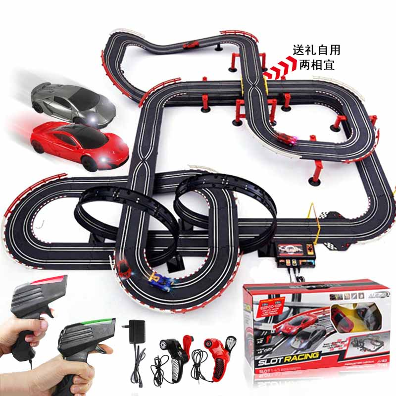 Remote Control Car Racing Tracks Double Play Race Electric Cars Track Set Kids Electric Railway Train Toys Free Shipping