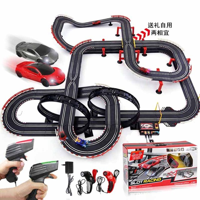remote control car racing tracks double play race electric cars track set kids electric railway train