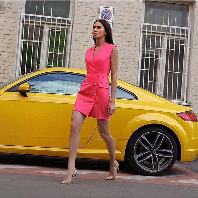 Высокое качество, Парижская мода 2019, дизайнерское платье для подиума, женское платье без рукавов с v-образным вырезом, двубортное платье на б...