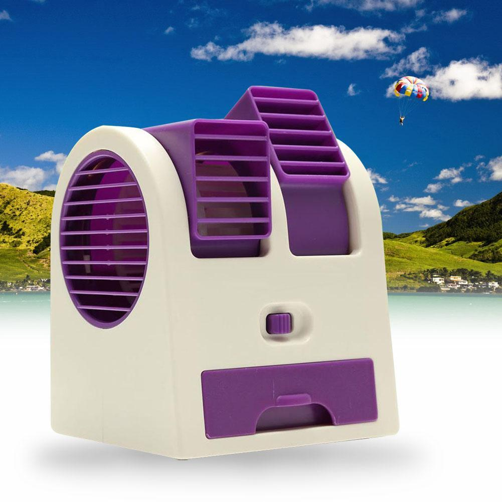 Purple Small Fan Cooling Portable Desktop Dual Bladeless
