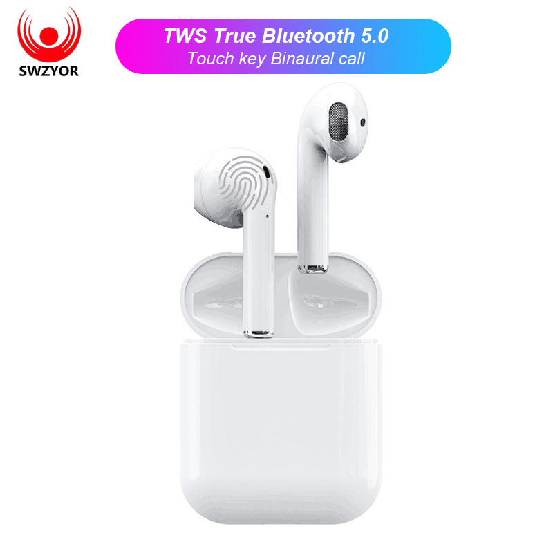 SWZYOR i12 TWS Mini Air pod Bluetooth 5.0 Earphone Sports Sweatproof True Wireless Touch Earbuds Ear pod Binaural call Earphones(China)