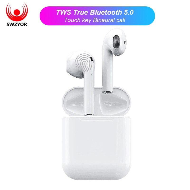 SWZYOR i12 TWS Mini Air pod Bluetooth 5.0 Auricolare Sport Sweatproof Vero Tocco Senza Fili Auricolari Ear pod Binaurale Auricolari chiamata