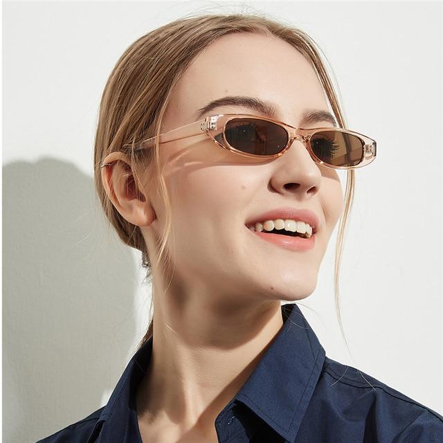 YOOSKE Retângulo Do Vintage Óculos De Sol Mulheres Olho de Gato Designer de Senhoras Pequeno Quadro Preto Vermelho Óculos de Marca Óculos de Sol Retro Skinny