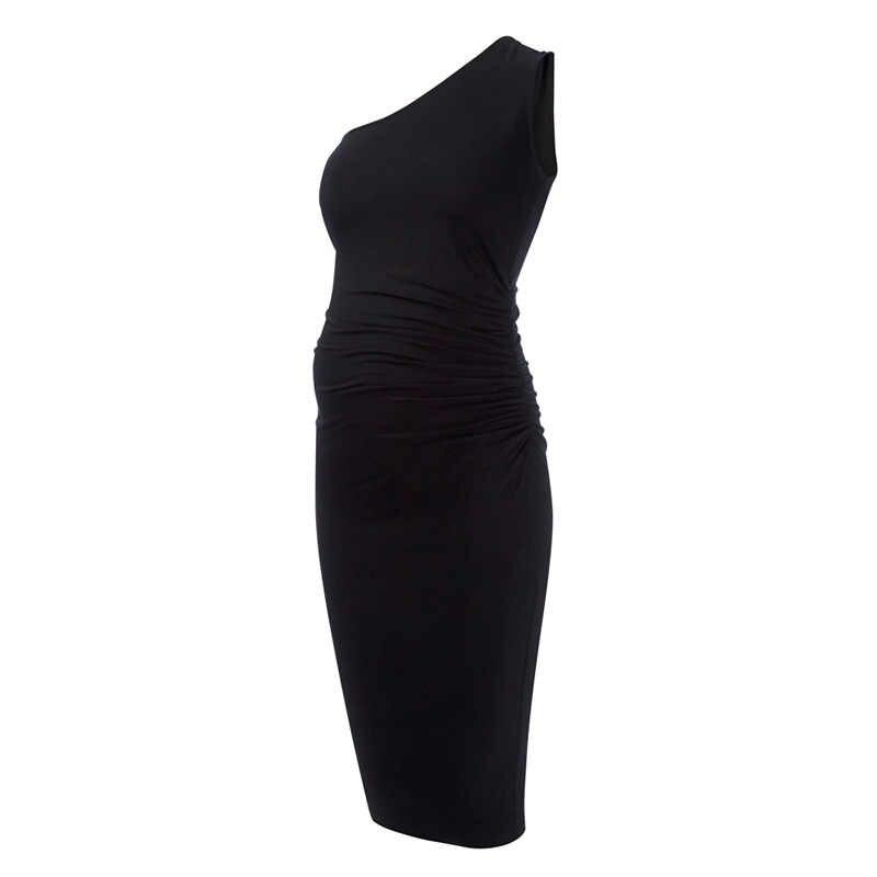 b4459f6d926 ... 95% Tencel свободные эластичные с открытыми плечами до колена платья  для беременных женщин шикарные материнства ...