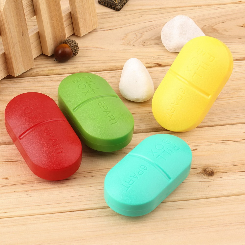 4 Colors Cute Pill Storage Box Portable Travel Emergency First Aid Kits 6-Slot Medical Pill Box Holder Medicine Case