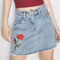 Women A Line Pencil Jeans Skirt Rose Embroidery High Waist Denim Mini Skirt Top Quality Saia Faldas Flower Elegant Girls Clothes