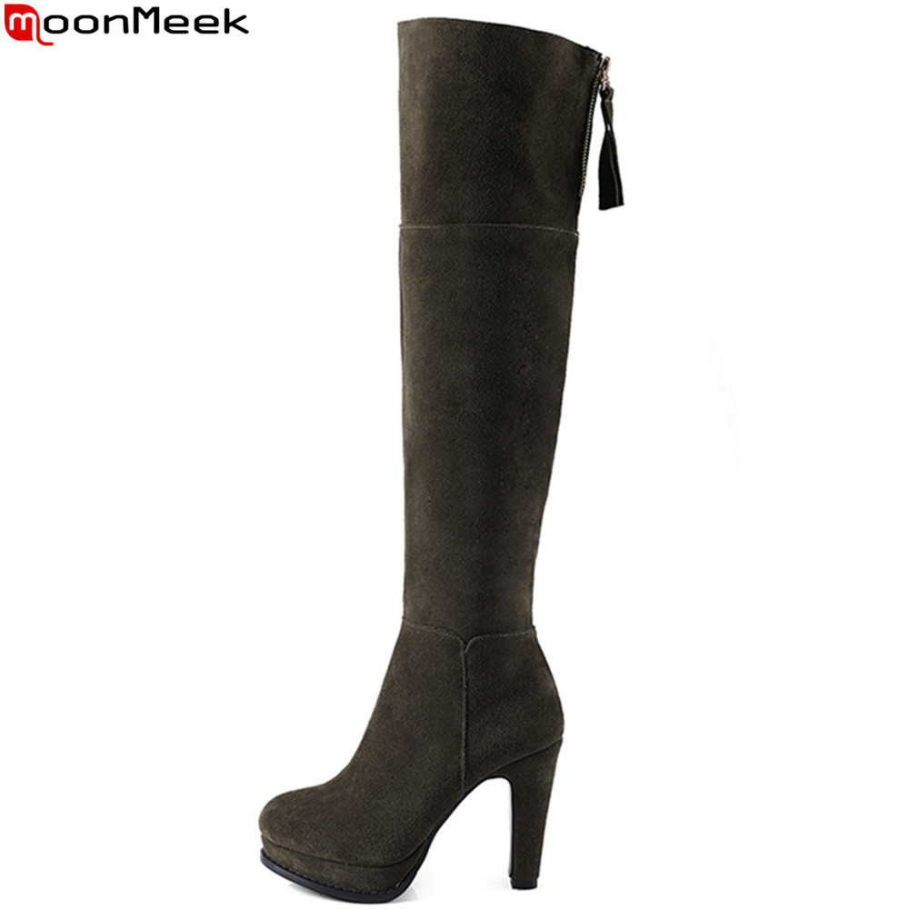 Фотография MoonMeek hot sale new arrive women boots round toe zipper cow suede ladies boots platform super high over the knee boots