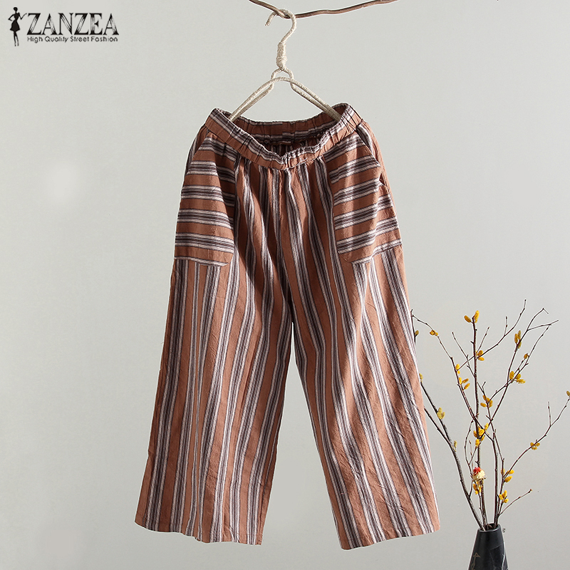 2018 Plus Size ZANZEA Summer Casual Women Elastic Waist Striped Cotton Linen Loose Work Trousers Pantalon Long   Wide     Leg     Pants