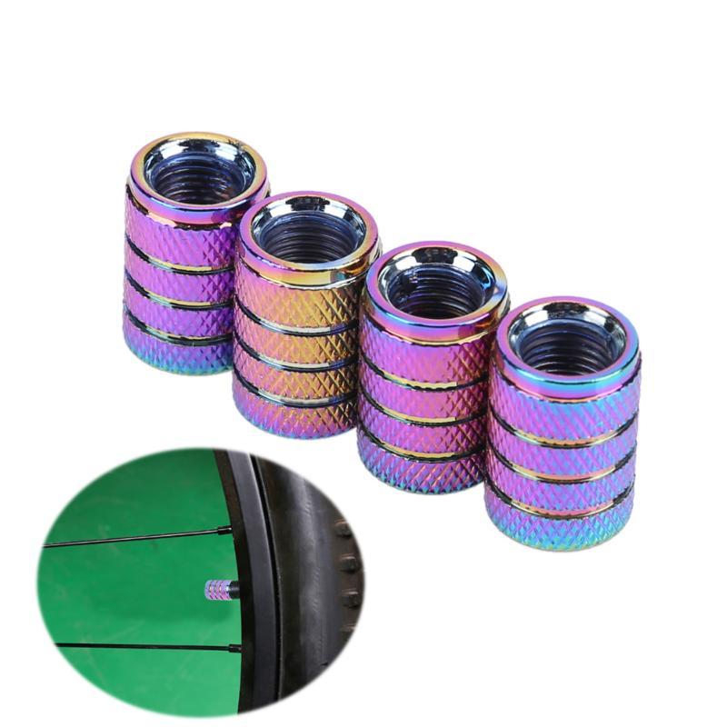 4pcs Rainbow Color Car Accessories Aluminum Car Wheel Tires Valve Caps Auto Motorcycle Airtight Stem Air Caps Car Accessories