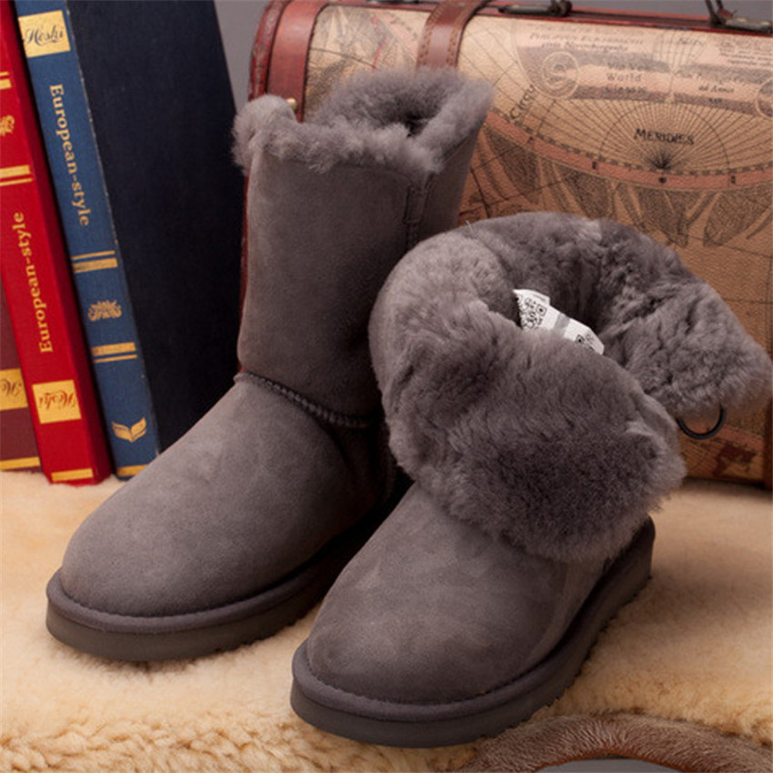 купить Wholesale Free Shipping Classic Woman Snow Boots China Brand 100% Real Sheepskin For Wmen's Winter Boots по цене 4025.45 рублей