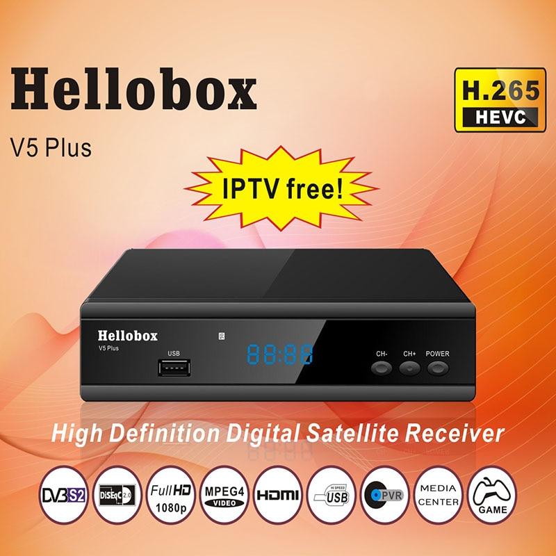 Hellobox V5 Ainsi Que Par Satellite Récepteur 3 Mois Livraison IPTV PowrVu IKS Biss entièrement autoroll DVBS2 H.265 HEVC ARNAQUE + 2 année TV BOX