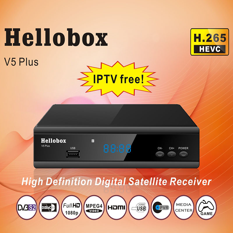 цена на Hellobox V5 Plus Satellite Receiver 3 Months Free IPTV PowrVu IKS Biss fully autoroll DVBS2 SCAM+ 2 Year TV BOX