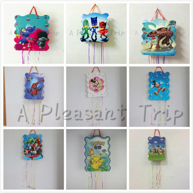 1PCS 27*49 princess Trolls pinata party toy game children favor game bingo paper Moana pinata happy birthday party supplies