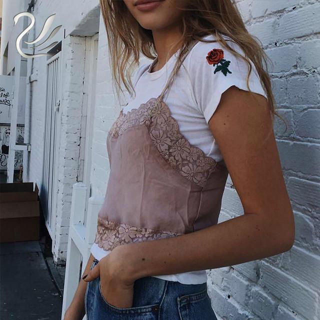 Slik Lace Crop Tops 2018 Spring Summer Sleeveless Women Tank Top Brandy Melville Short Vintage Bralette  Crop Tops Camis