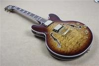 Hot Sale semi oco guitarra elétrica, ES 335 jazz corpo oco clássico, flamed maple dupla face capa de água, 1958-335 guitarra