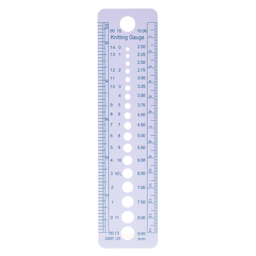 1PC High Quality Newest Knitting Needle Gauge Inch Cm Ruler Tool US UK Canada Sizes 2-10mm Ruler