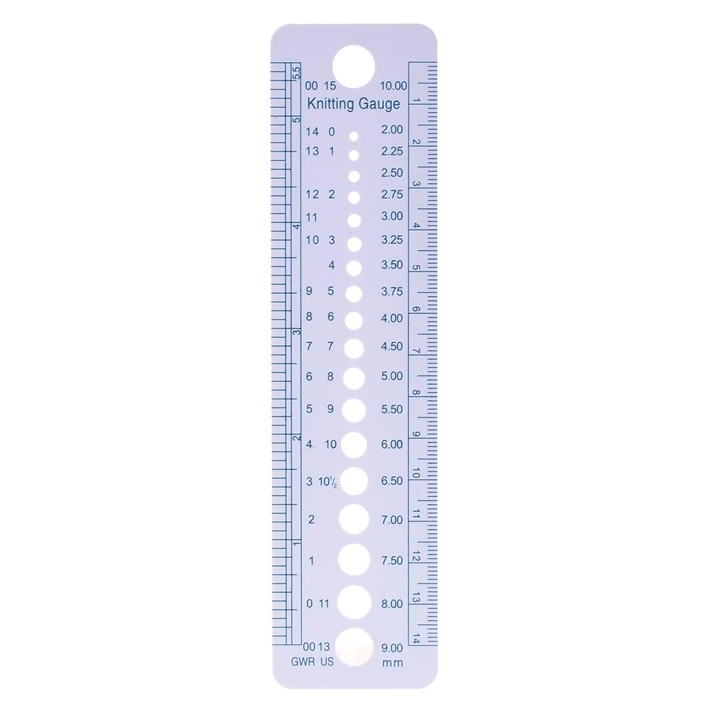 1PC High Quality Newest Knitting Needle Gauge Inch Cm Ruler Tool US UK Canada Sizes 2-10mm Ruler