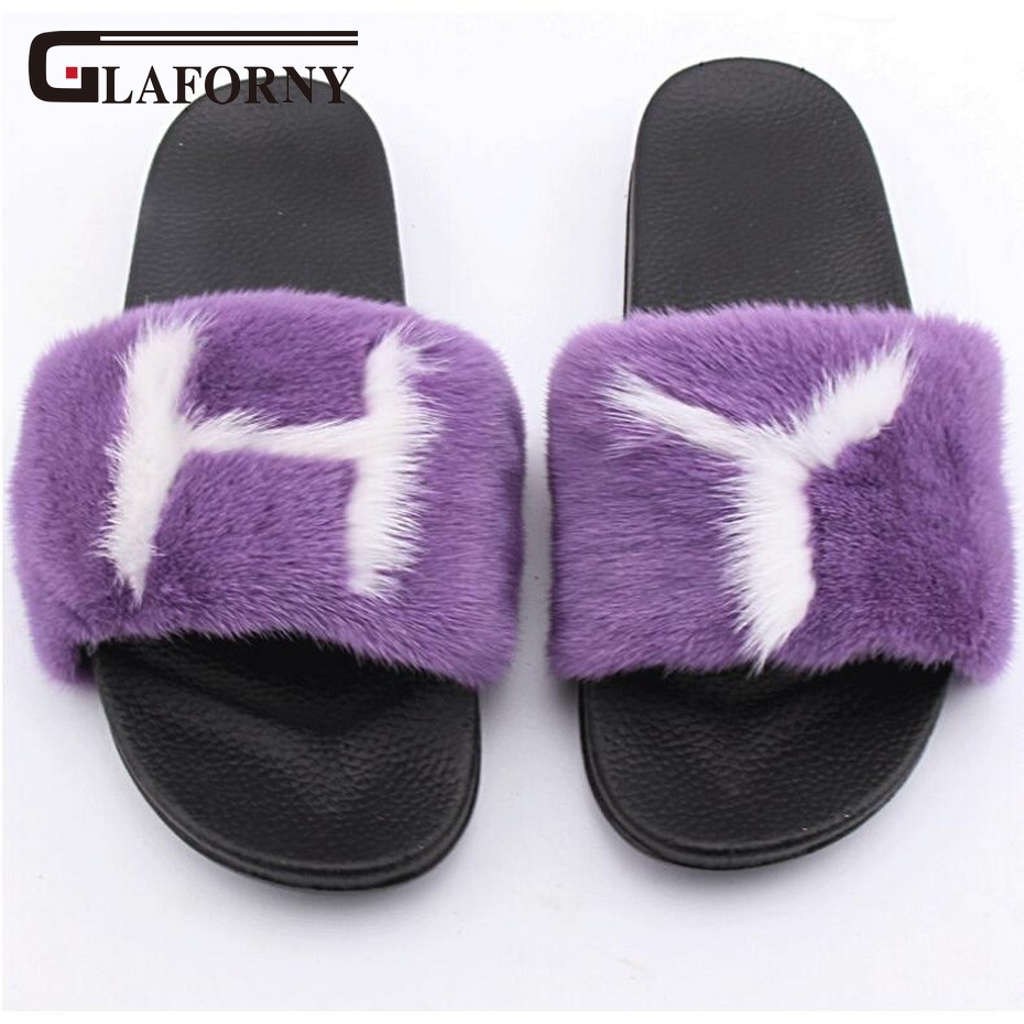 Glaforny 2018 New Arrival Real Mink Fur Slippers Women Fashion Fur Furry Slides Handmade Flip Flops Bach Sandal Shoes