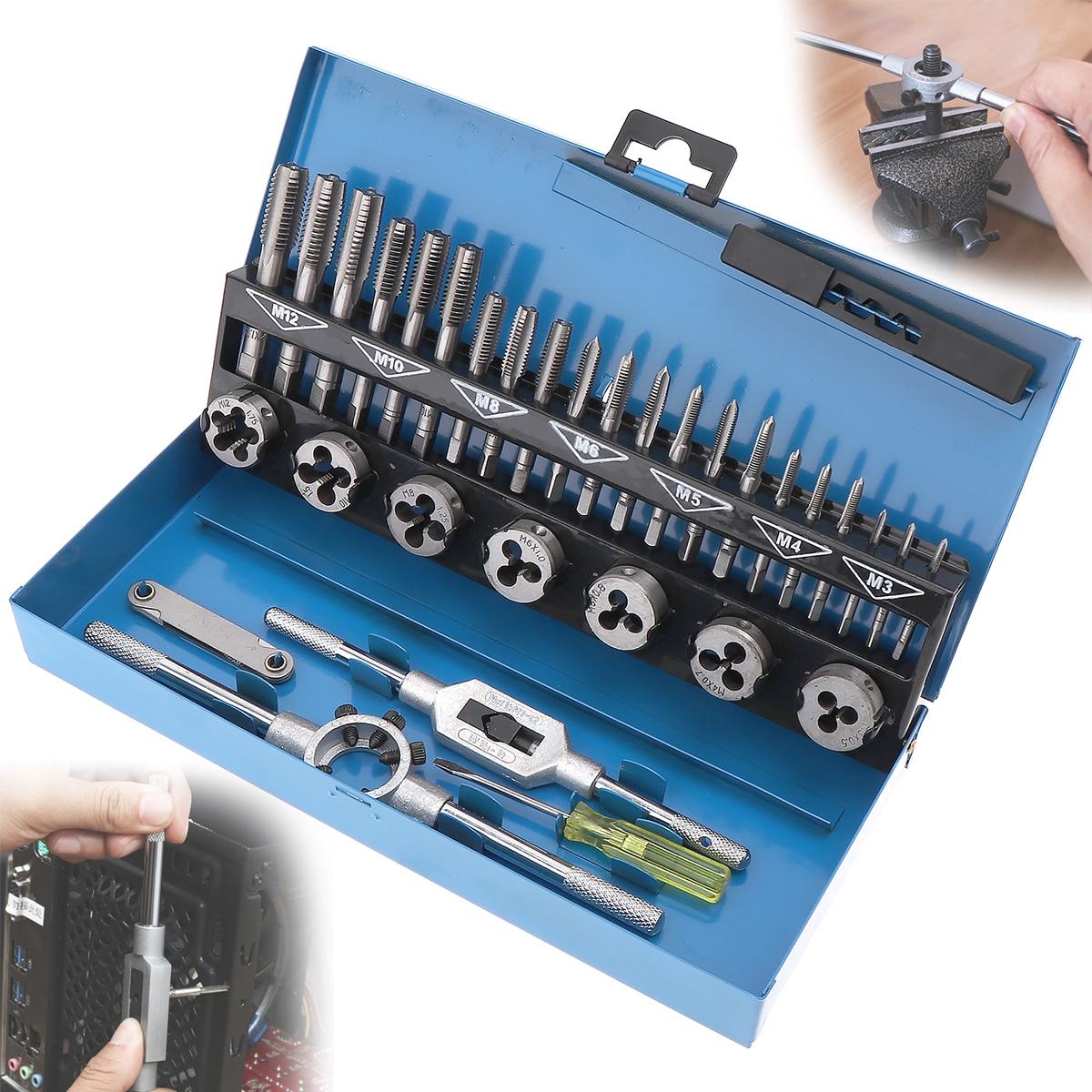 Metric thread gauge 32pcs/set HSS Metric M3 M12 Tap & Die Set 1st 2nd & Plug Finishing for Metalworking