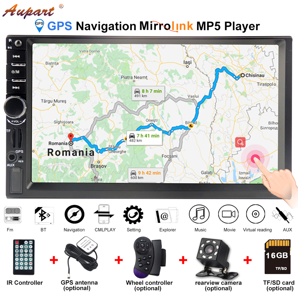 Navigation for 2 din car gps autoradio bluetooth radio car multimedia player 2din Cassette Recorder carplay with android phone image