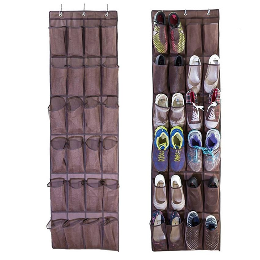 24 pockets foldable hanging shoe holder hanger storage bags wall organizer plastic shoe shelf bathroom organizer shelf