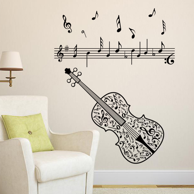 2017 New Violin Music Notes Wall Sticker Tv Sofa Background Adesivos De Parede Home Decor Living Room Entranceway Classroom Post