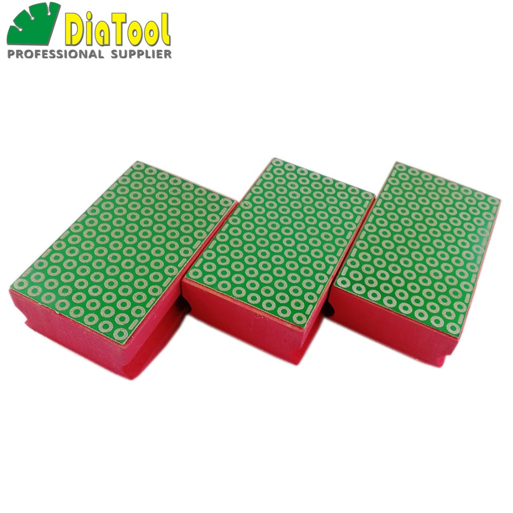 DIATOOL 3pcs G#200 Diamond Hand Polishing Pad Size 90X55MM Foam Backed Electroplated Diamond Grinding Block Professional Quality|polishing pad|diamond hand|diamond hand polishing pads - title=