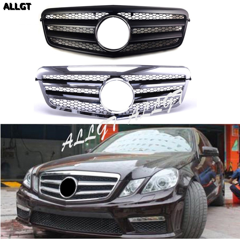 Car Front <font><b>Grill</b></font> fit for <font><b>Mercedes</b></font> Benz NEW E Class E350 E550 E63 2010 2011 2012 2013 <font><b>W212</b></font> grille MATTE BLACK Chrome AMG image