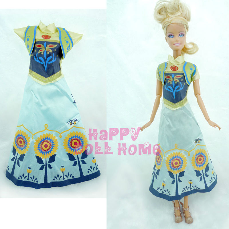 Princess Wedding Dress + Veil Fairy Tale Gown Copy Anna Clothes Outfit For Barbie Doll Kurhn 11.5″ 12″  Pretend Play Toy