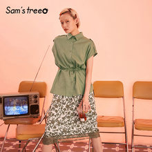 Samstree Army Green Floral Print Lace Patchwork Military Ranger Women Dress 2019 Summer Sleeveless Office Ladies Daily Dresses(China)