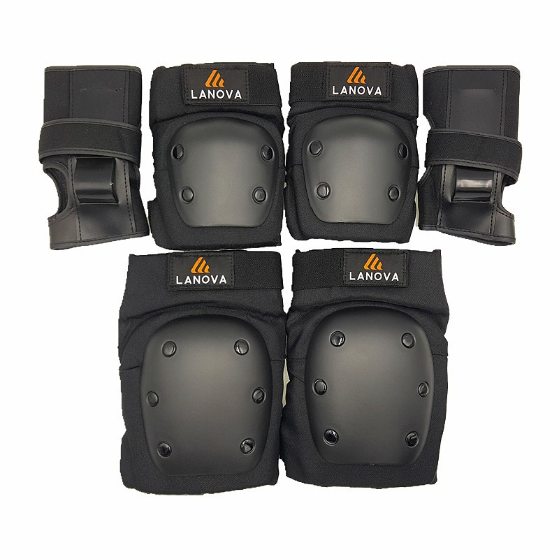 LANOVA 6pcs/set Adults Skating Protective Gear Knee Elbow pads wristguard Cycling Skateboard Ice Skating Protector Roller 4 Size