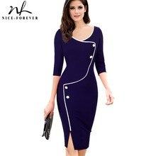 Güzel sonsuza kadar Vintage kısa bölünmüş alt zarif rahat çalışma 3/4 kollu derin o boyun Bodycon diz kadın ofis kalem elbise b329