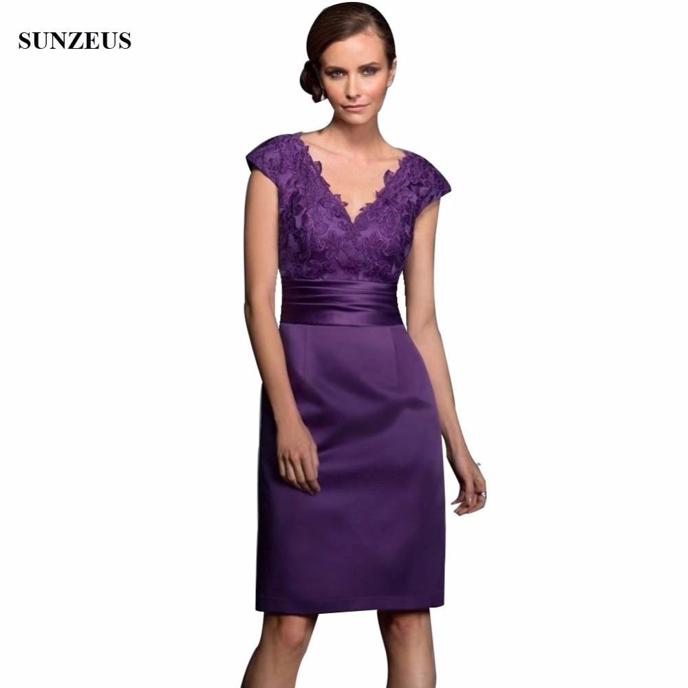 Profonde col en V violet courte mère de robe de mariée robe Satin robe de fête de mariage pour les femmes casquette manches mère robe de marié 2020 S641