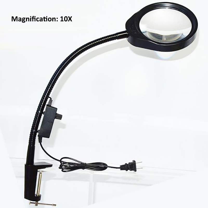 Desktop Read Magnifier 10X Soft Rod Dimmable Repair Magnifying Glass Table Lamp Work Magnifier LED Light Inspection Magnifiers new universal desktop magnifier usb with led light 10x for maintenance reading micro engraving magnifying glass