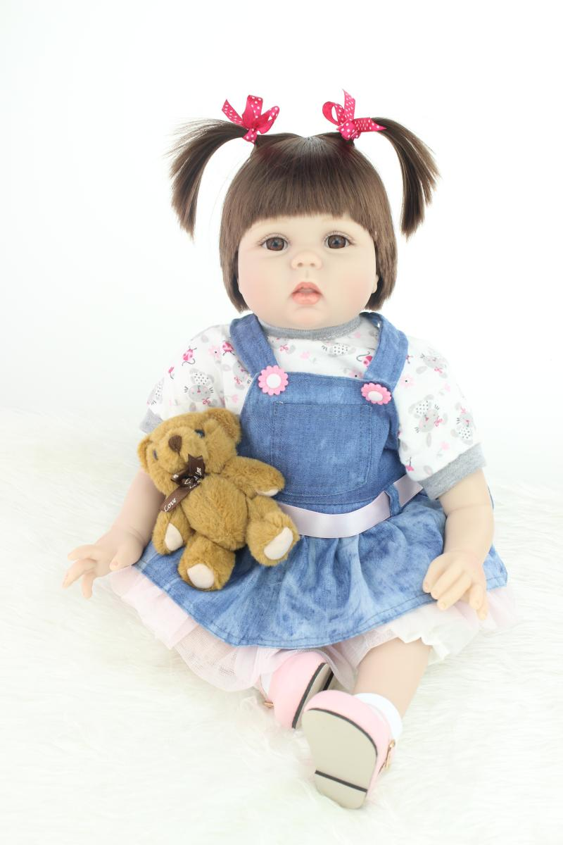 girl Hair Rooted Realistic reborn babies doll 55cm silicone reborn baby dolls for girls toys Christmas gift brinquedos alive 22 inches sweet girl dolls brown hair 55cm doll reborn baby lovely toys cute birthday gift for girls as american girl