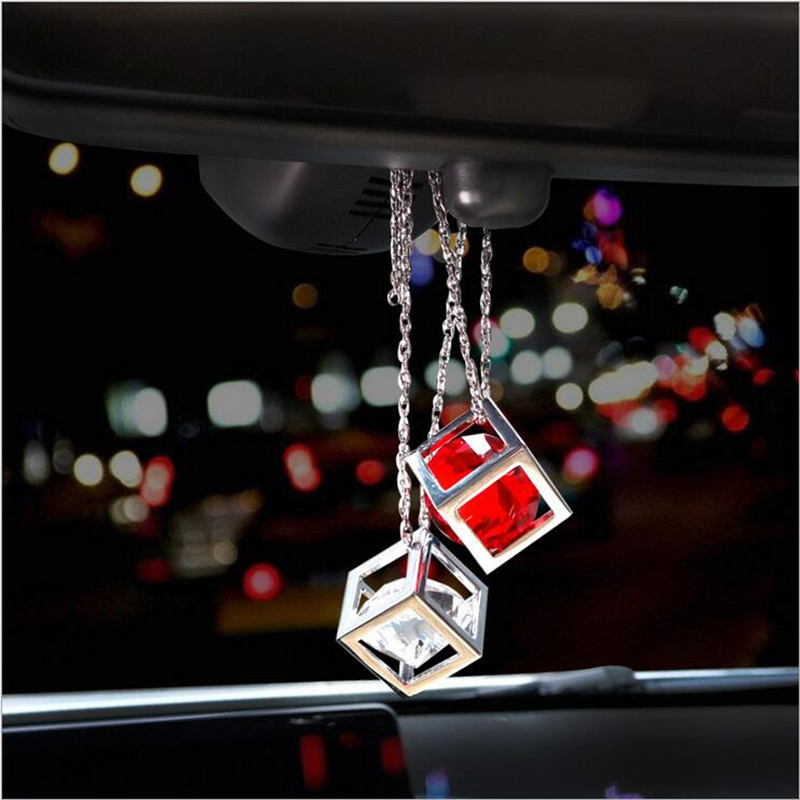 Car Pendant Crystals Rubik's Cube Car Charms Rear View Mirror Decoration Automobile Ornaments Hanging trims Interior Suspension car pendant handicraft dreamcatcher feather hanging car rearview mirror ornament auto decoration trim accessories for gifts 30cm