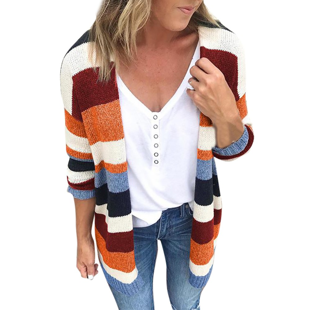 Best selling blouse high quality patchwork women rainbow stripes long sleeve cardigan tops sweater coat wholesale size s-xl
