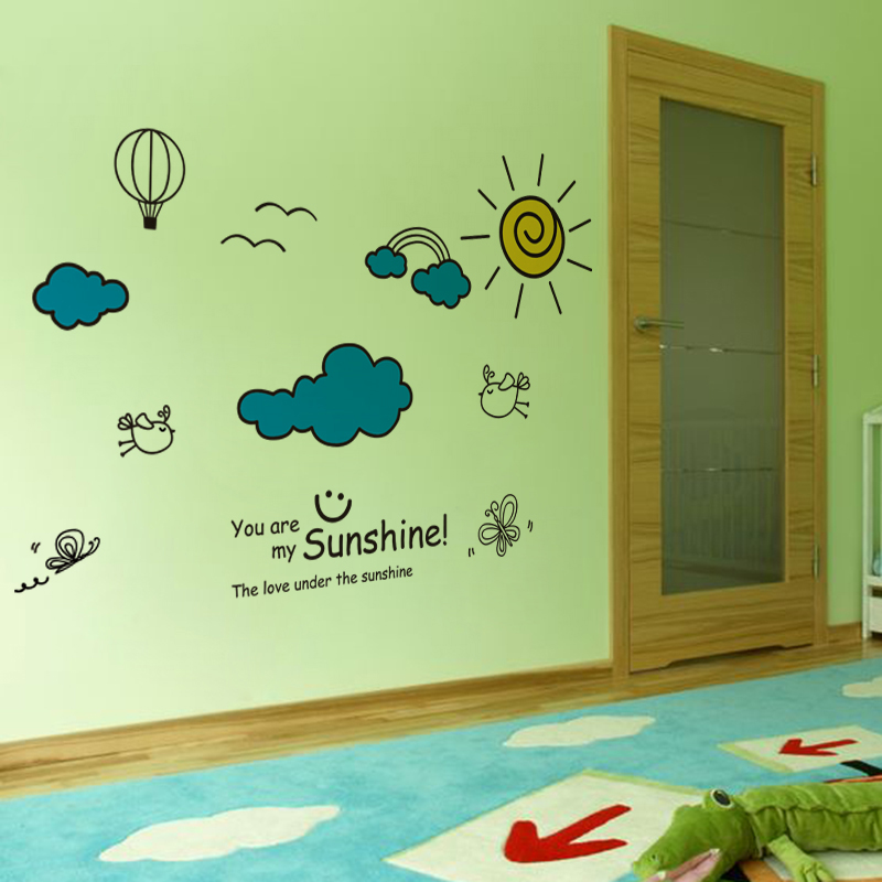 shijuekongjian Cartoon Rabbits Flowers Wall Stickers Vinyl DIY Clouds Sun Mural Decals for Kids Room Baby Bedroom Decoration in Wall Stickers from Home Garden