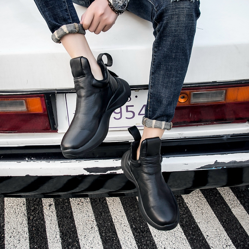 Men's high top real leather casual shoes autumn winte chelsea boots men cowhide cowboy boots mens high top sneakers boots male
