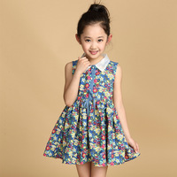 Girls Floral Print Dress Summer Kids Girl Cotton Dress Teenage Girls One Piece Stylish Dress Age