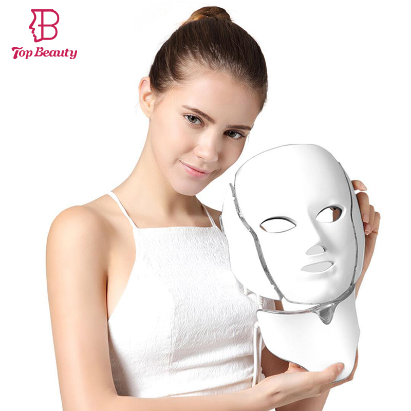 7-in-1 LED Light Therapy Facial Mask Photon Skin Rejuvenating Face Lifting Whitening Tightening Neck Anti-wrinkle Anti-aging цены онлайн